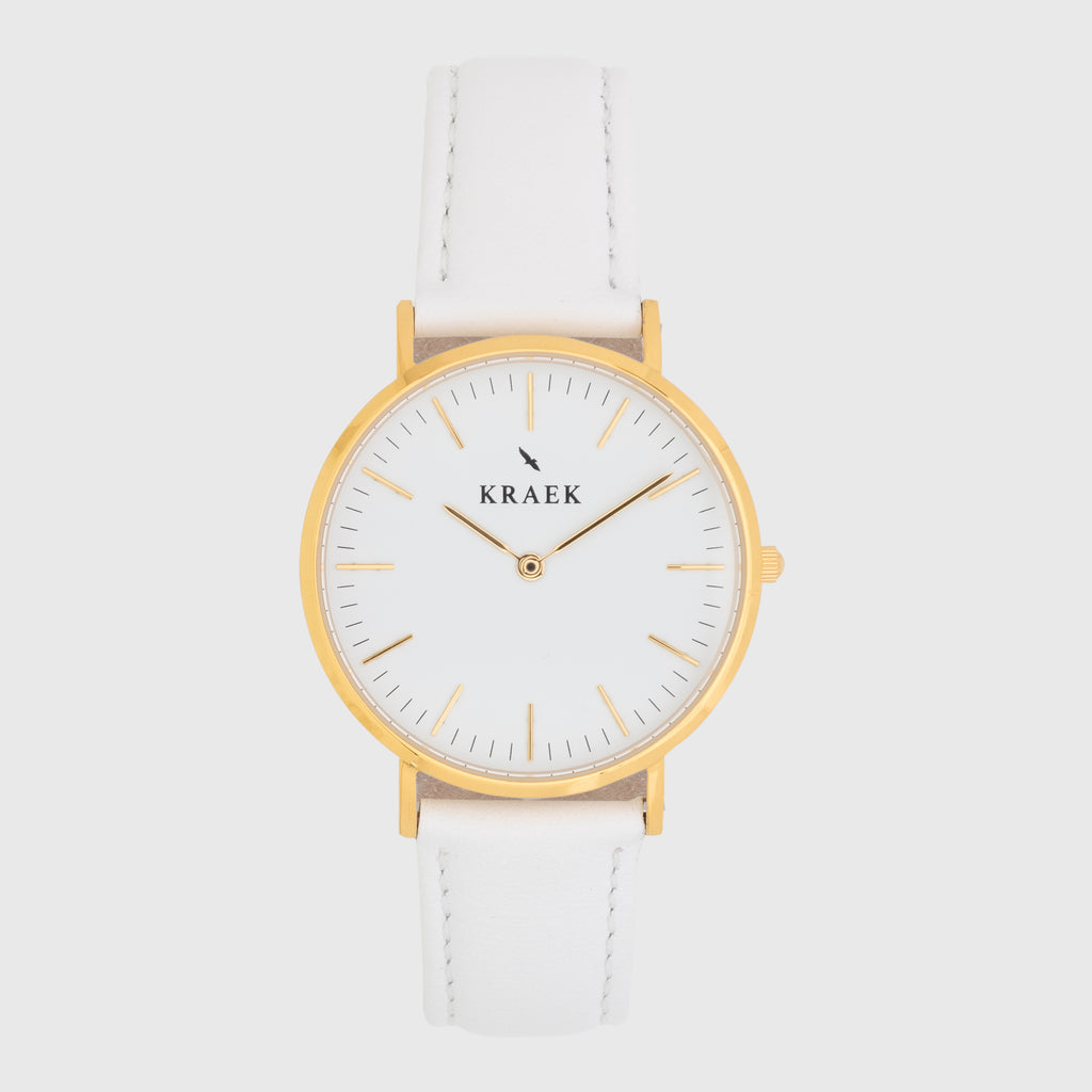 gold women's watch - white leather strap - white dial - round case - Svelte Kraek