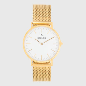 gold women's watch - mesh strap - white dial - round case - Svelte Kraek