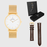 White Dial - KRAEK - brown leather and gold mesh - gift package - gold women's watch