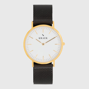 gold women's watch - black mesh strap - white dial - round case - Svelte Kraek