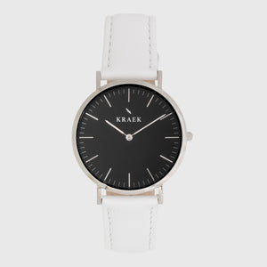 Silver women's watch - white leather strap - black dial - round case - Svelte Kraek