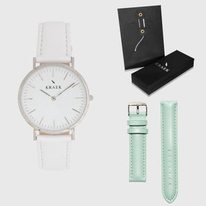 White Dial - KRAEK - green & white leather - gift package - silver women's watch