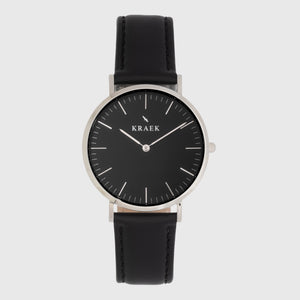Silver women's watch - black leather strap - black dial - round case - Svelte Kraek
