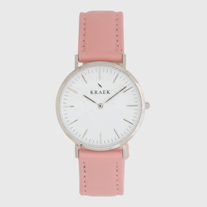 Silver women's watch - pink leather strap - white dial - round case - Svelte Kraek