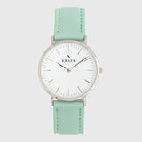 Silver women's watch - Green leather strap - white dial - round case - Svelte Kraek