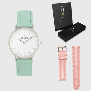 White Dial - KRAEK - green & pink leather - gift package - silver women's watch