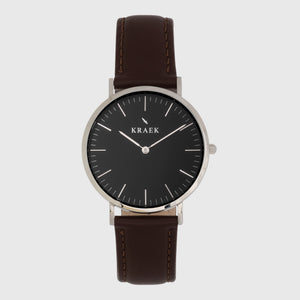 Silver women's watch - brown leather strap - black dial - round case - Svelte Kraek