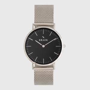Silver women's watch with mesh strap and black dial - round case - Svelte Kraek