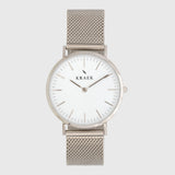 front photo - silver mesh strap - 18 mm - Svelte - white dial - watch straps - for all 18 mm watches - amsterdam watches