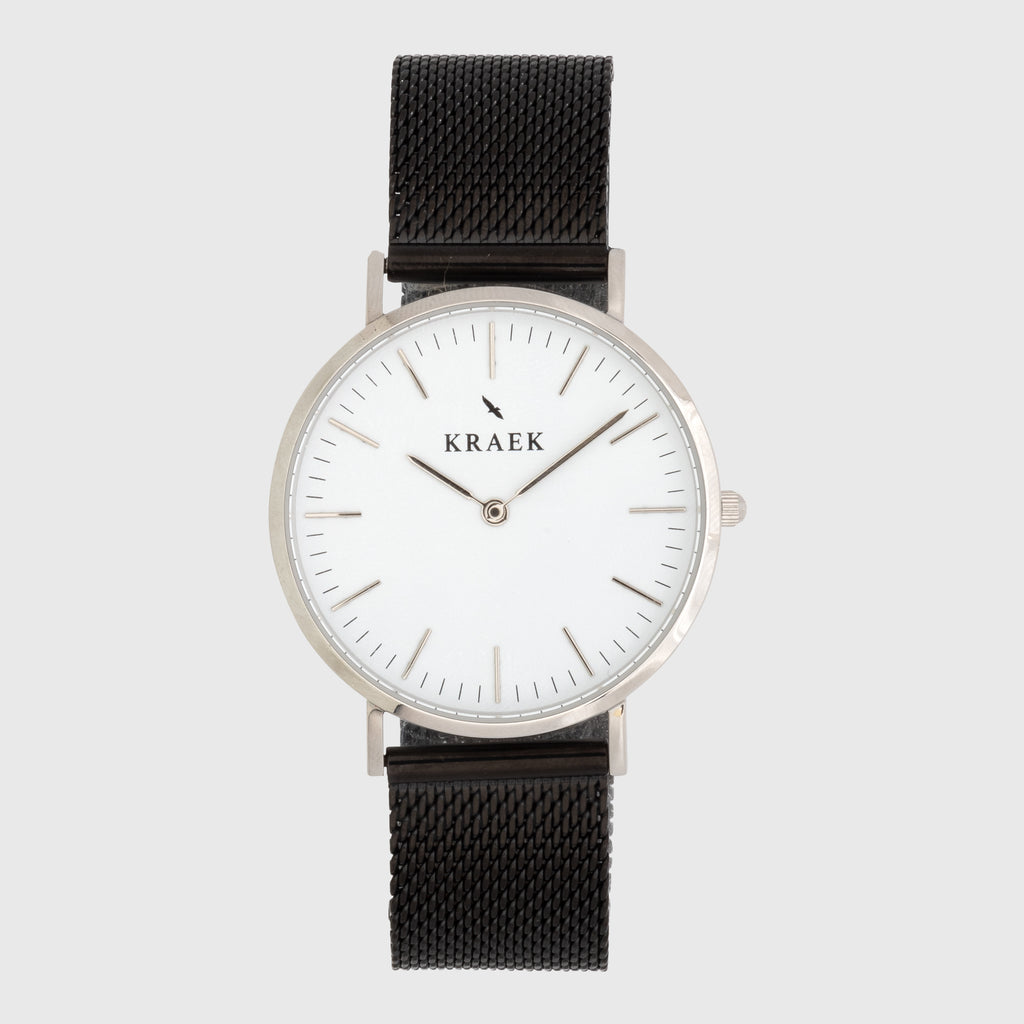 silver women's watch - black mesh strap - White dial - round case - Svelte Kraek
