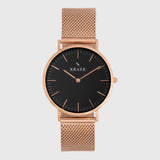 KRAEK - Sarika - Black Dial - Rose gold mesh strap