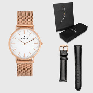 White Dial - KRAEK - black leather - rose gold mesh- gift package - rose gold women's watch