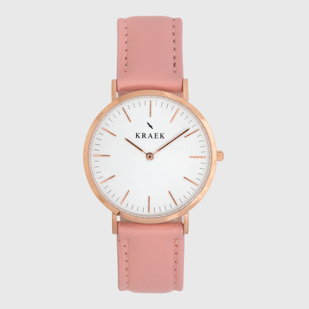 Rose gold women's watch - pink leather strap - white dial - round case - Svelte Kraek