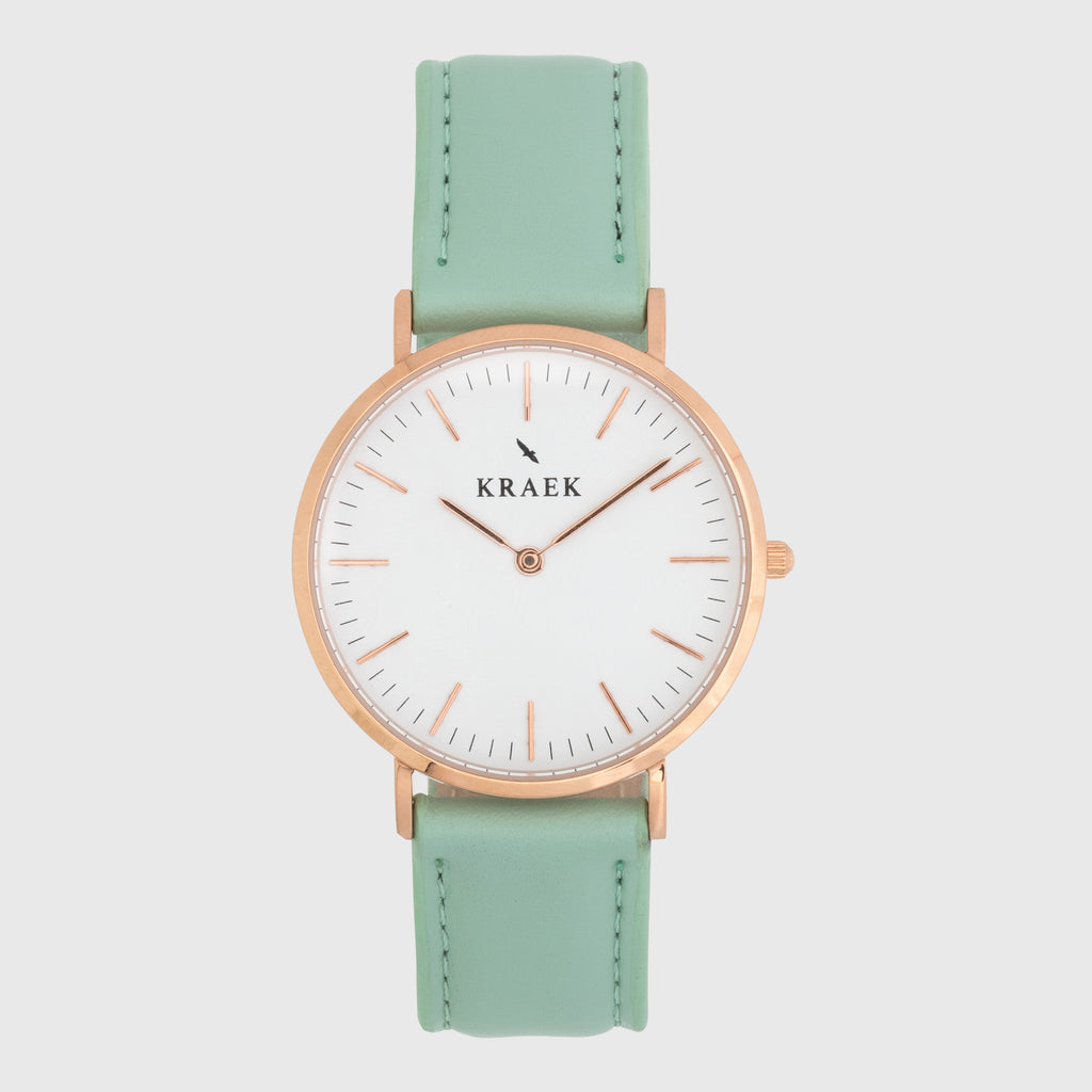 Rose gold women's watch - Green leather strap - white dial - round case - Svelte Kraek