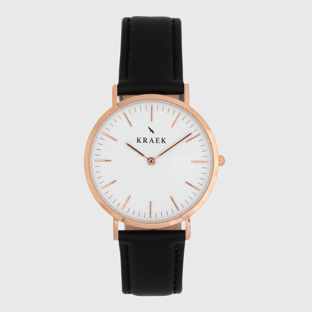 Rose gold women's watch - Black leather strap - white dial - round case - Svelte Kraek