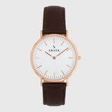 Rose gold women's watch - brown leather strap - white dial - round case - Svelte Kraek
