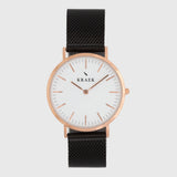 Rose gold women's watch - black mesh strap - white dial - round case - Svelte Kraek