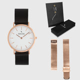 White Dial - KRAEK - rose gold & black mesh- gift package - rose gold women's watch