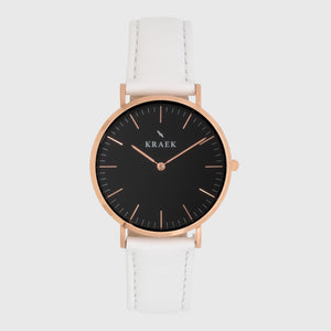 Rose gold women's watch - White leather strap - black dial - round case - Svelte Kraek - Ladies watches - official Kraek store