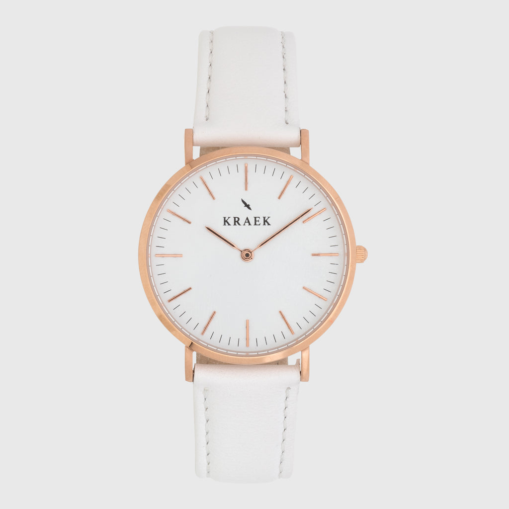 front photo - rose gold - white leather strap - 18 mm - Svelte - white dial