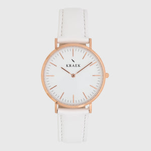 Rose gold women's watch - white leather strap - white dial - round case - Svelte Kraek