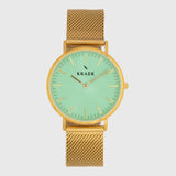 gold women's watch - Gold mesh strap - green dial - round case - Svelte Kraek