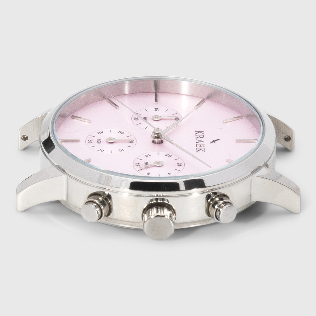 silver round case women's watch - pink dial - stopwatch - Kraek