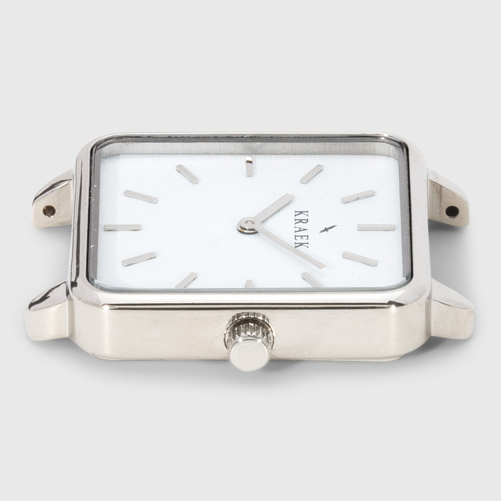 Silver square case women's watch with with dial