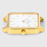Gold square case women's watch with white dial - Kraek
