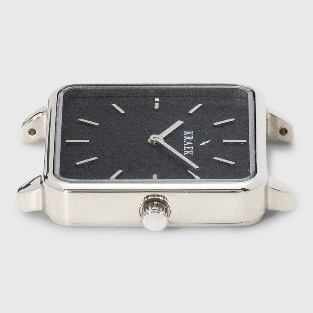 Silver square case women's watch with black dial - Kraek