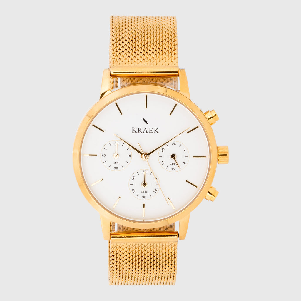 Gold women's watch - mesh strap and white dial - round case - stopwatch - Kraek
