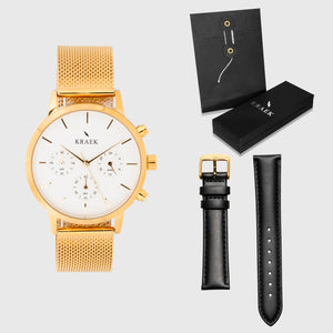 White Dial - KRAEK - gold mesh strap - black leather - gift package - gold women's watch