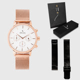 White Dial - KRAEK - Rose gold & black mesh straps - gift package - rose gold women's watch