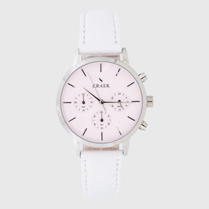 Silver women's watch with a white leather strap and pink dial - round case - stopwatch - Kraek