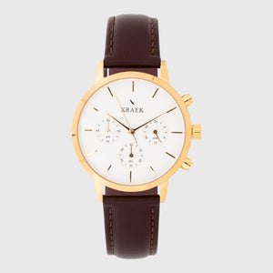 gold women's watch with brown leather strap and white dial - round case - stopwatch - Kraek