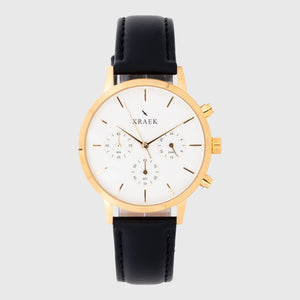 gold women's watch with a black leather strap and white dial - round case - stopwatch - Kraek