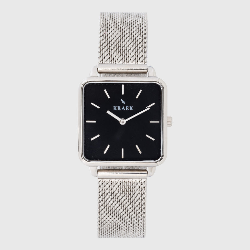Silver women's watch with steel mesh strap and black dial - square case - Kraek