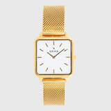 Gold women's watch with mesh strap and white dial - square case - Kraek