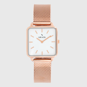 Rose gold women's watch with mesh strap and white dial - square case - Kraek