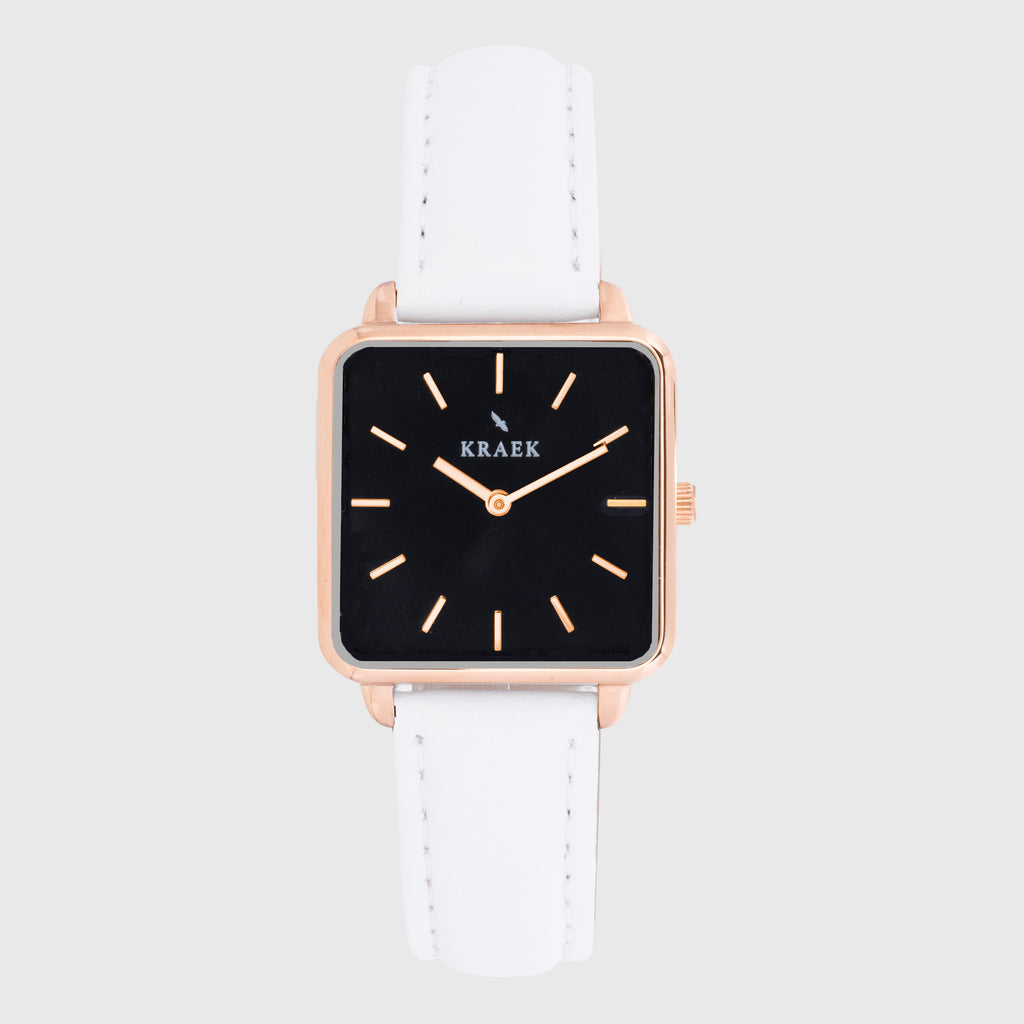 Rose Gold women's watch - white leather strap - black dial - square case - Kraek