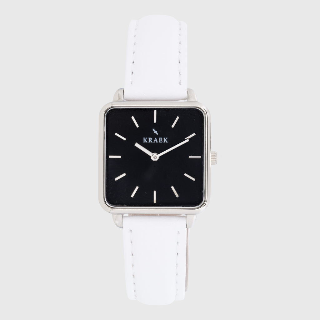 Silver women's watch - black leather strap - black dial - square case - Kraek