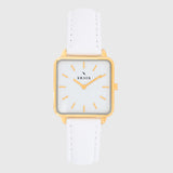 Gold women's watch - white leather strap - white dial - square case - Kraek