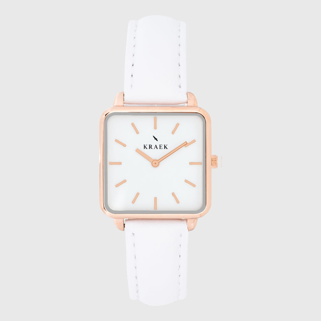 front photo - rose gold - white leather strap - 16 mm - La Vie - white dial