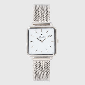 Silver women's watch with mesh strap and white dial - square case - Kraek