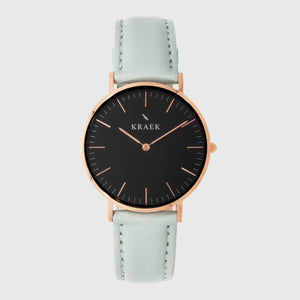 Rose gold women's watch - mint leather strap - white dial - round case - Svelte Kraek