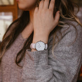Silver women's watch - white leather strap - white dial - round case - Svelte Kraek - Amsterdam Watch Company - Fair watches
