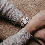 Silver women's watch - white leather strap - white dial - square case - Kraek