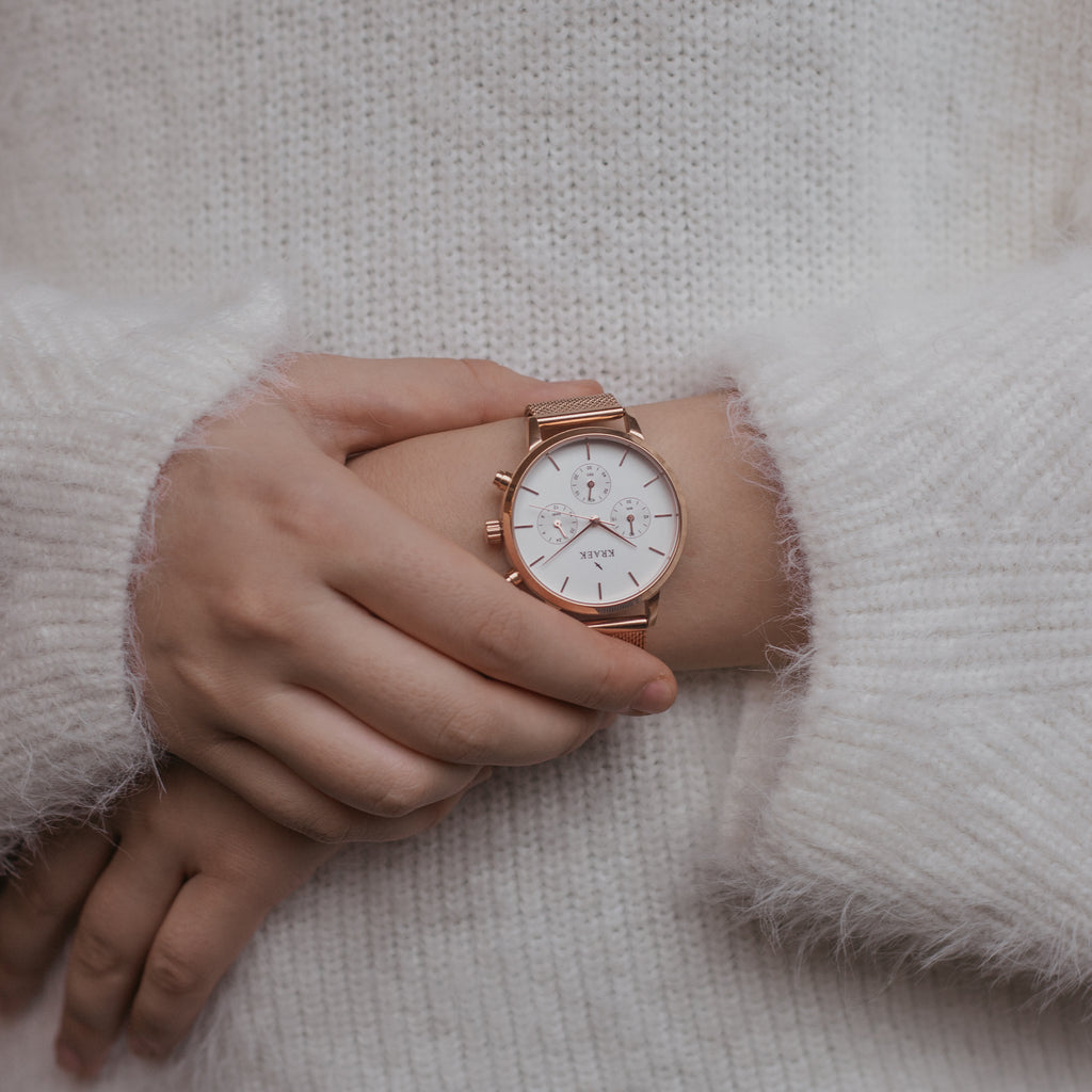 Rose gold women's watch - mesh strap and white dial - round case - stopwatch - Kraek