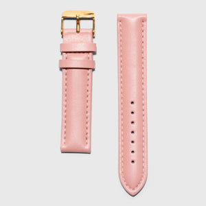 Pink leather strap - for women's watches - Gold buckle - 16 mm
