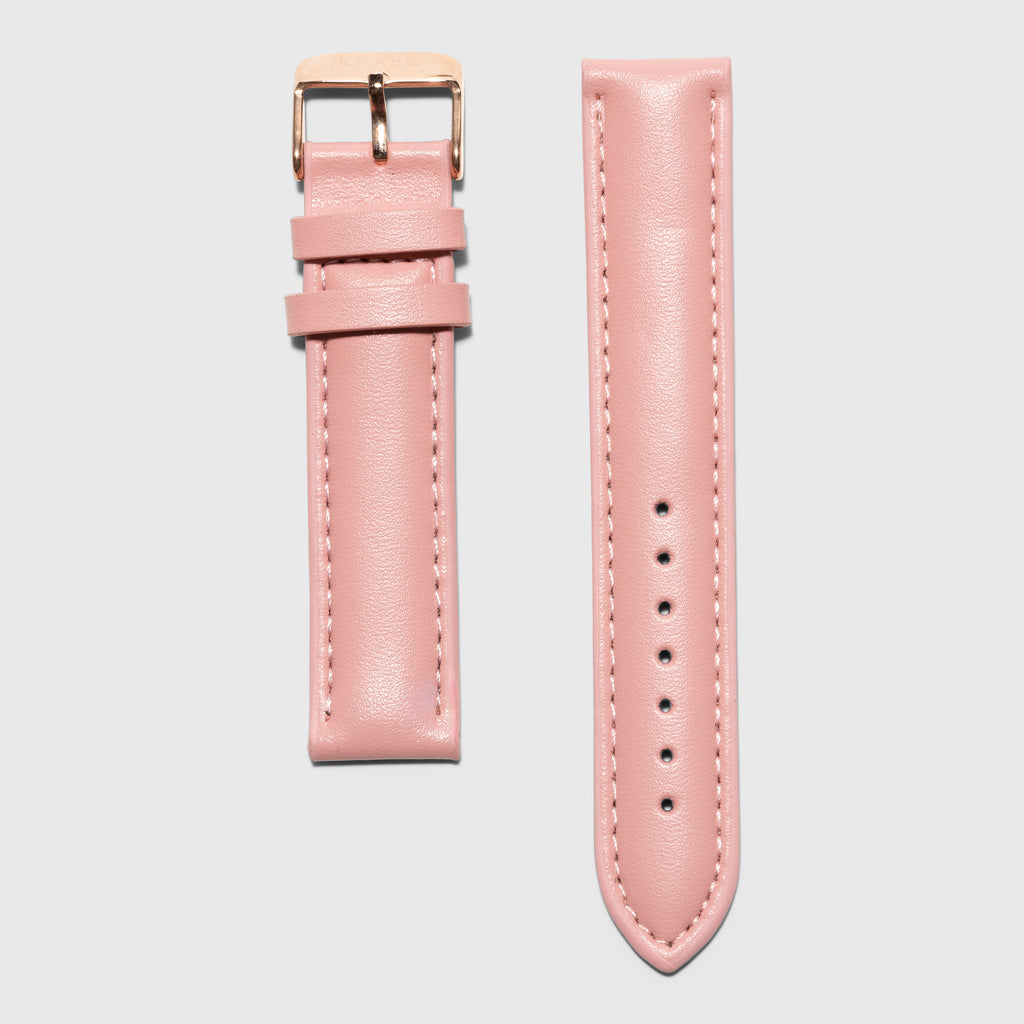 pink leather strap - for women's watches - Rose Gold buckle - 18 mm